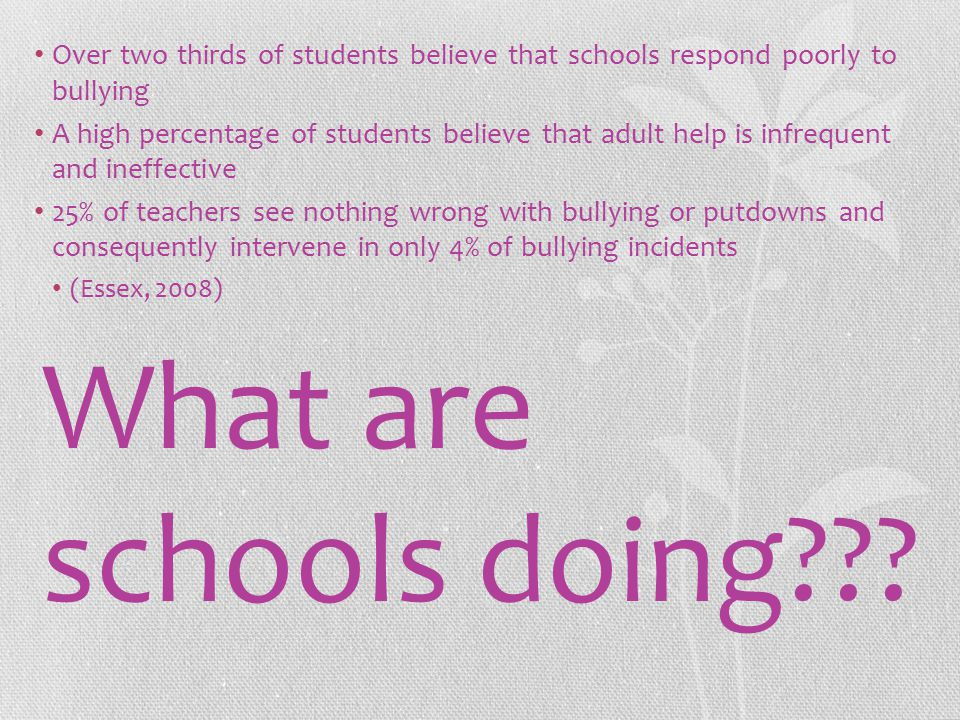 What are schools doing??.