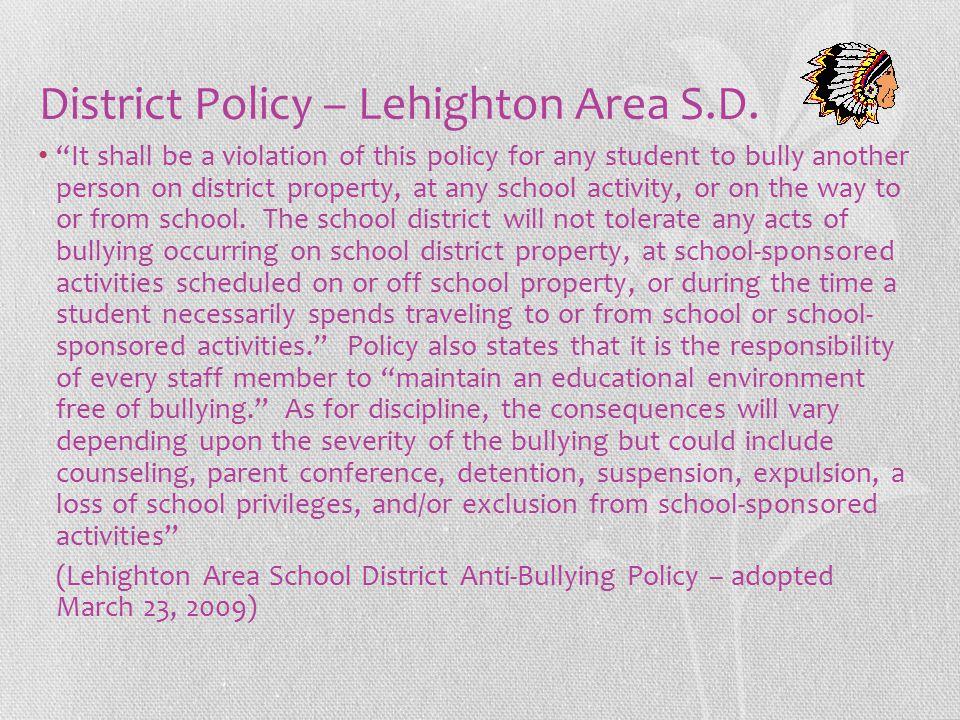 District Policy – Lehighton Area S.D.
