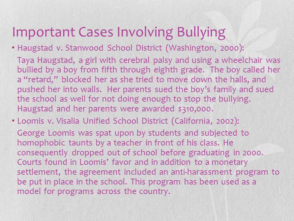 Important Cases Involving Bullying Haugstad v.