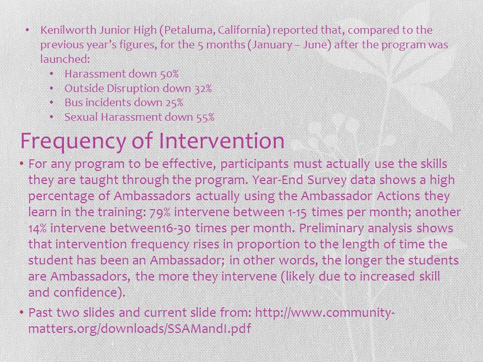 Frequency of Intervention For any program to be effective, participants must actually use the skills they are taught through the program. Year-End Sur