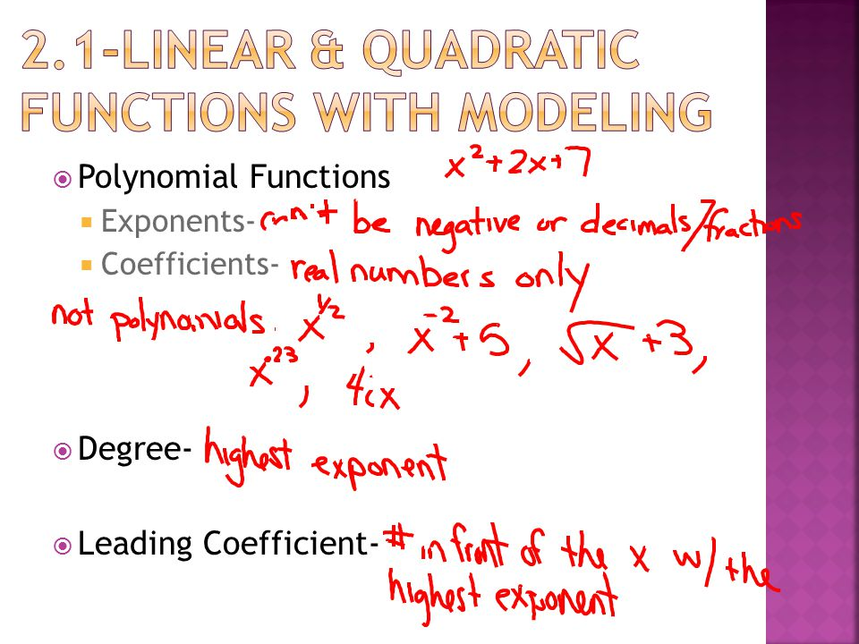  Polynomial Functions  Exponents-  Coefficients-  Degree-  Leading Coefficient-
