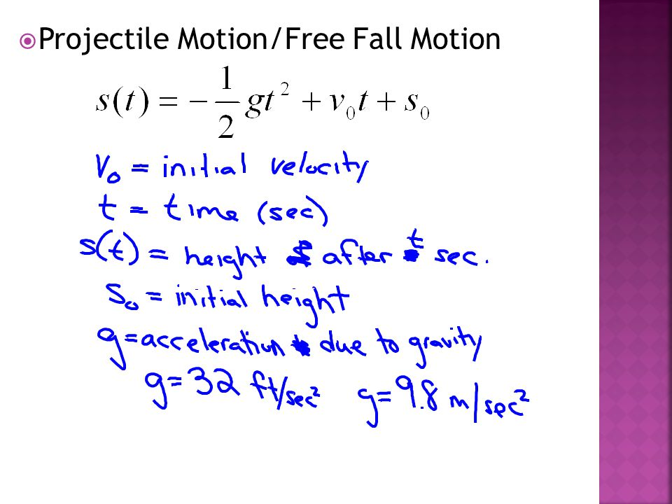  Projectile Motion/Free Fall Motion