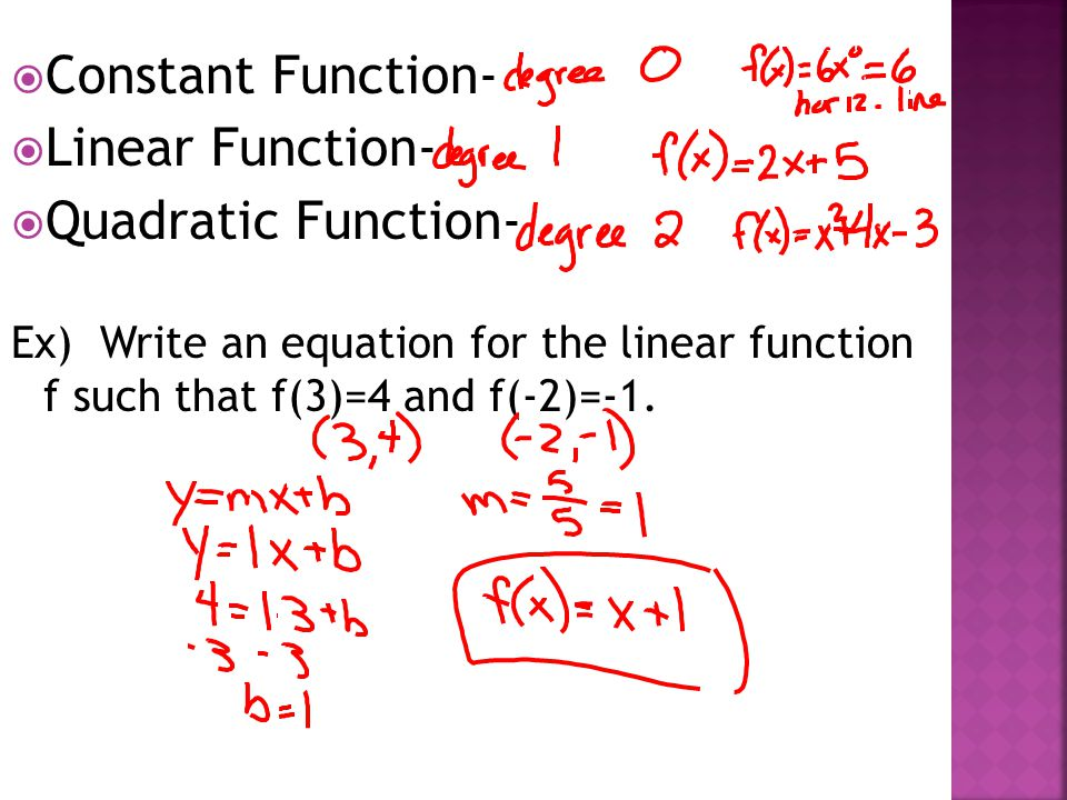  Constant Function-  Linear Function-  Quadratic Function- Ex) Write an equation for the linear function f such that f(3)=4 and f(-2)=-1.