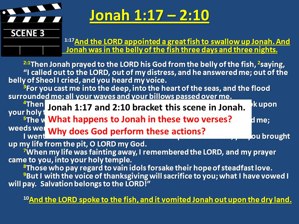 Jonah 1:17 – 2:10 1:17 And the LORD appointed a great fish to swallow up Jonah.