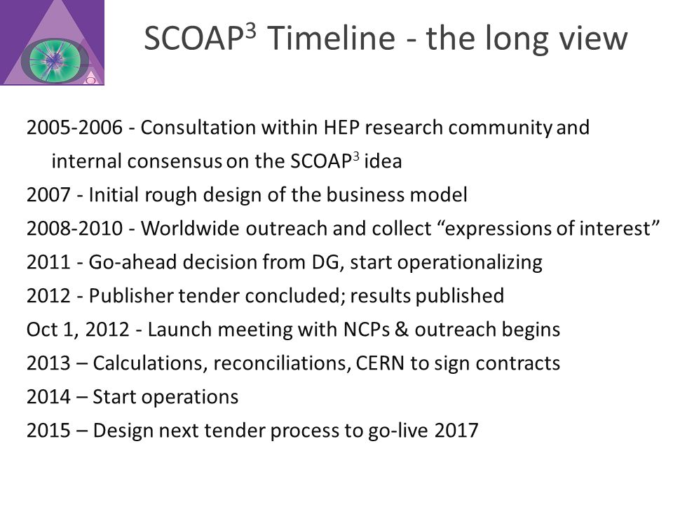 SCOAP 3 Timeline - the long view 2005-2006 - Consultation within HEP research community and internal consensus on the SCOAP 3 idea 2007 - Initial rough design of the business model 2008-2010 - Worldwide outreach and collect expressions of interest 2011 - Go-ahead decision from DG, start operationalizing 2012 - Publisher tender concluded; results published Oct 1, 2012 - Launch meeting with NCPs & outreach begins 2013 – Calculations, reconciliations, CERN to sign contracts 2014 – Start operations 2015 – Design next tender process to go-live 2017