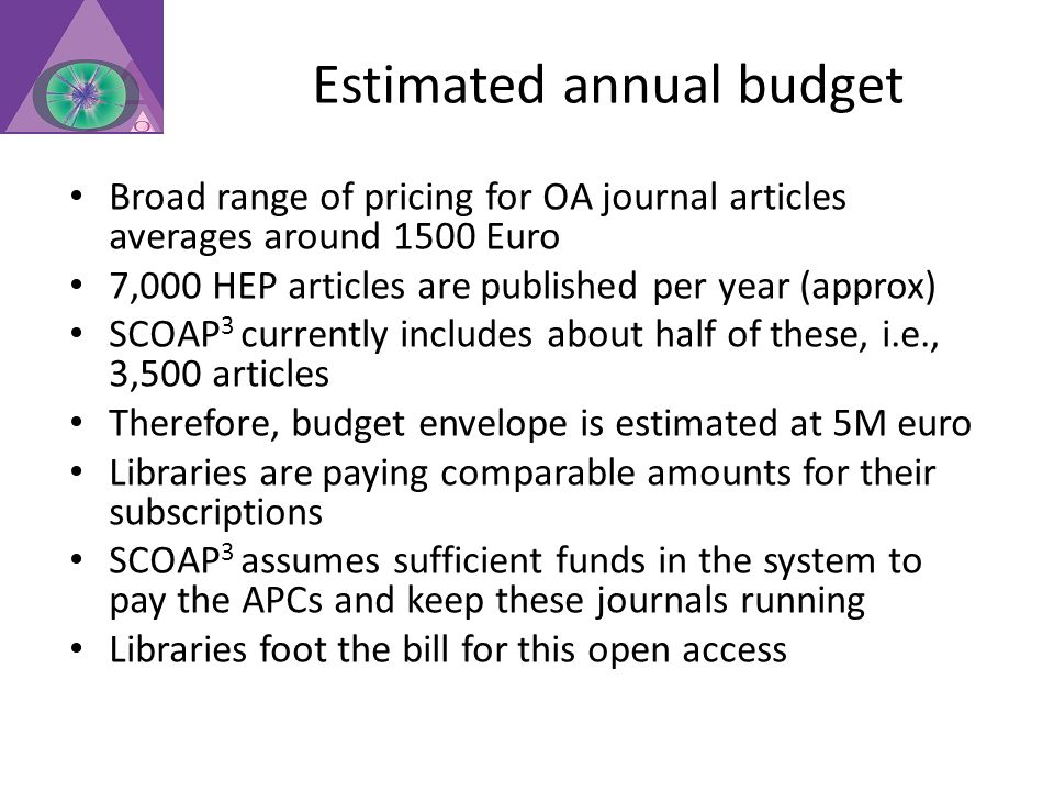 Estimated annual budget Broad range of pricing for OA journal articles averages around 1500 Euro 7,000 HEP articles are published per year (approx) SCOAP 3 currently includes about half of these, i.e., 3,500 articles Therefore, budget envelope is estimated at 5M euro Libraries are paying comparable amounts for their subscriptions SCOAP 3 assumes sufficient funds in the system to pay the APCs and keep these journals running Libraries foot the bill for this open access