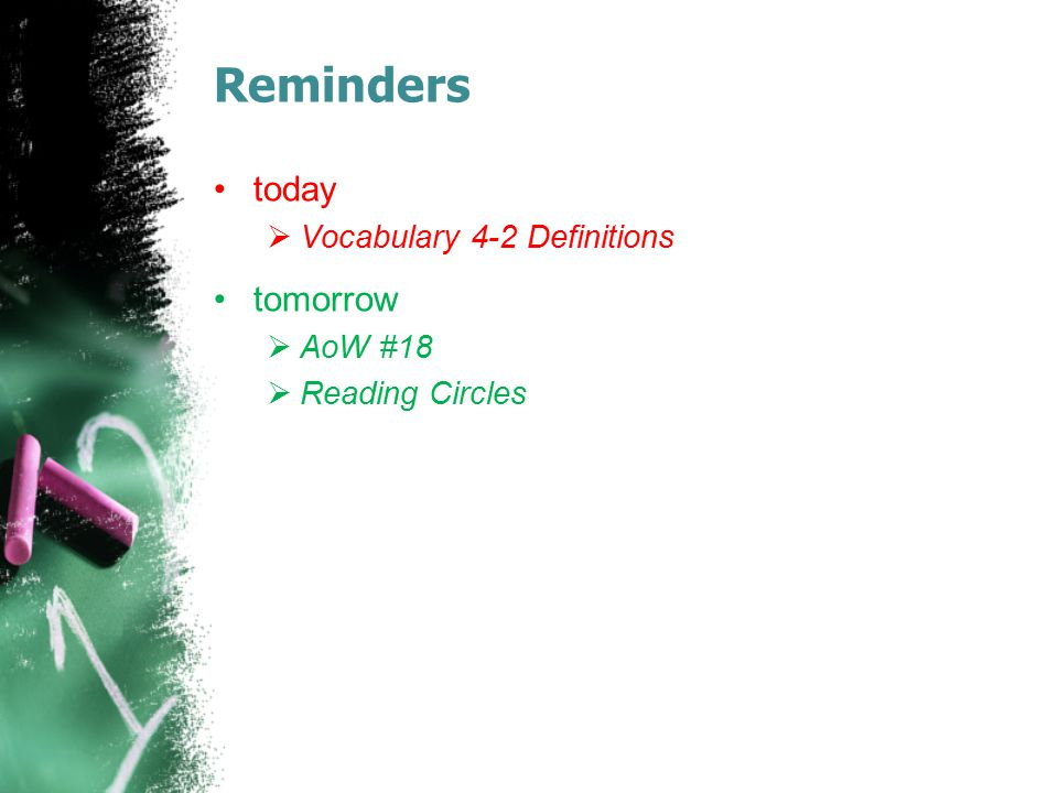 Reminders today  Vocabulary 4-2 Definitions tomorrow  AoW #18  Reading Circles