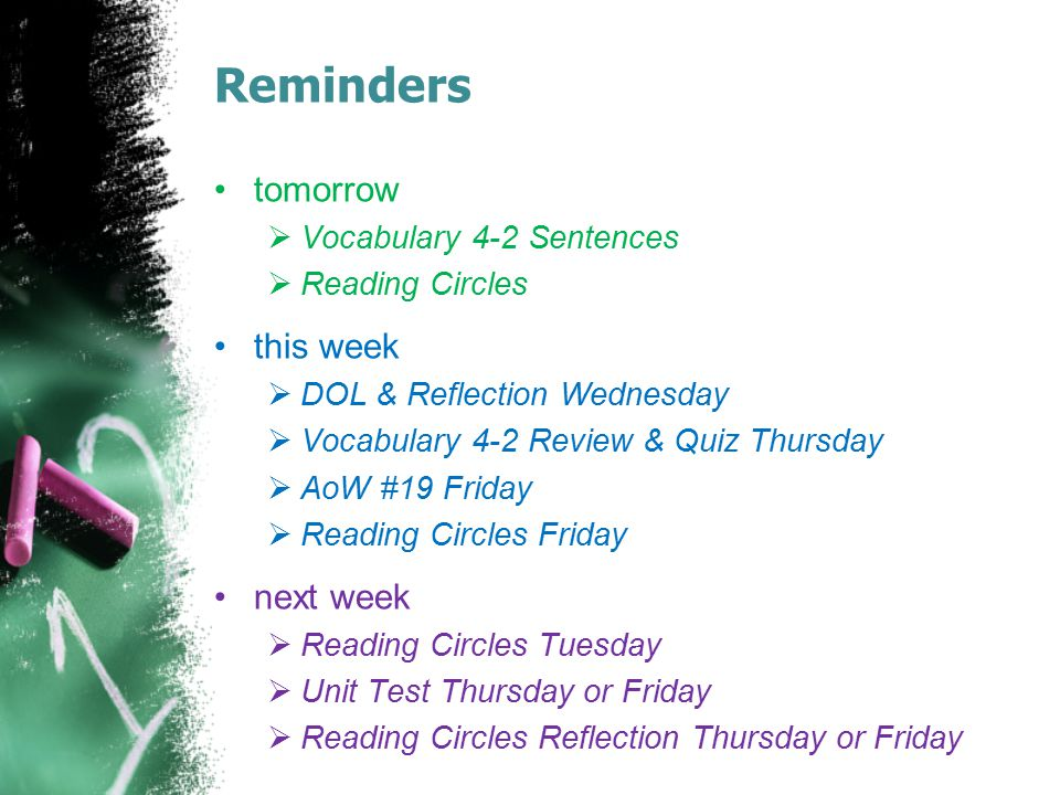 Reminders tomorrow  Vocabulary 4-2 Sentences  Reading Circles this week  DOL & Reflection Wednesday  Vocabulary 4-2 Review & Quiz Thursday  AoW #