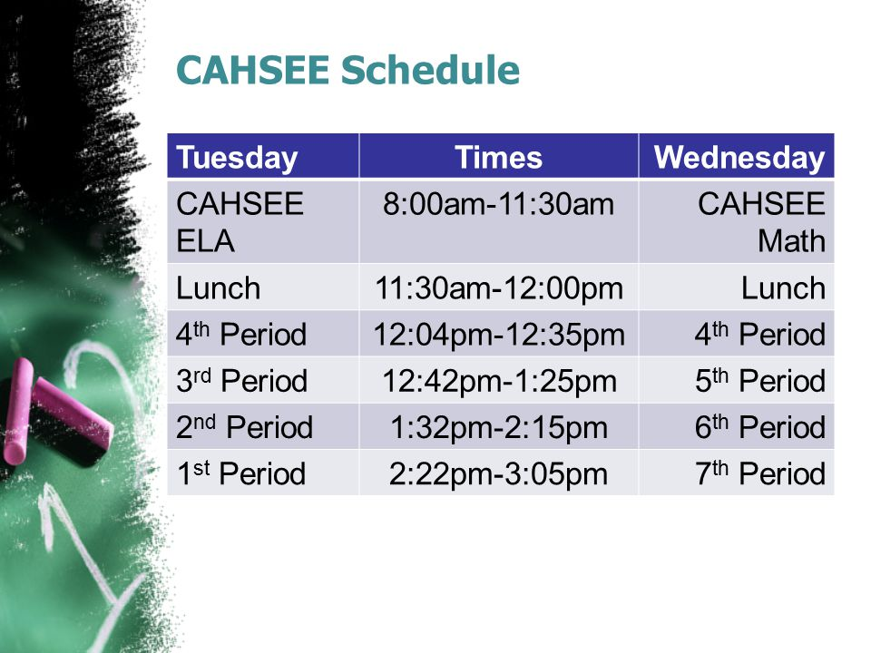 CAHSEE Schedule TuesdayTimesWednesday CAHSEE ELA 8:00am-11:30amCAHSEE Math Lunch11:30am-12:00pmLunch 4 th Period12:04pm-12:35pm4 th Period 3 rd Period