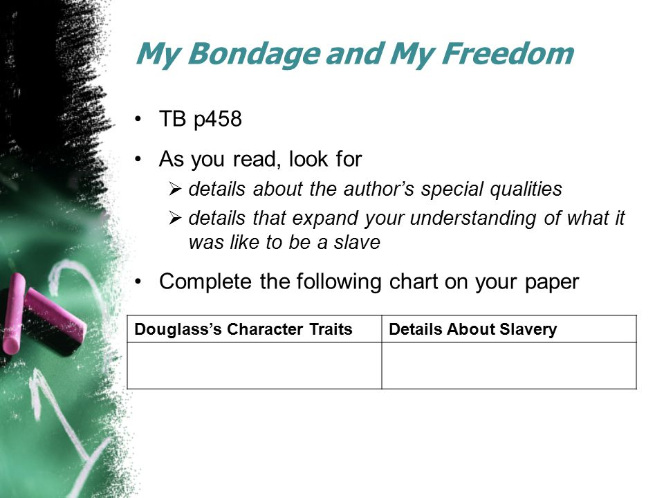 My Bondage and My Freedom TB p458 As you read, look for  details about the author's special qualities  details that expand your understanding of wha
