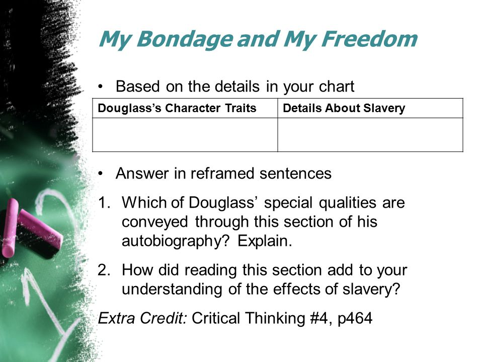 My Bondage and My Freedom Based on the details in your chart Answer in reframed sentences 1.Which of Douglass' special qualities are conveyed through