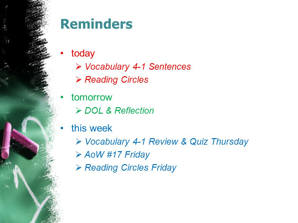 Reminders today  Vocabulary 4-1 Sentences  Reading Circles tomorrow  DOL & Reflection this week  Vocabulary 4-1 Review & Quiz Thursday  AoW #17 F