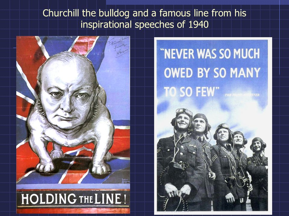 Churchill the bulldog and a famous line from his inspirational speeches of 1940