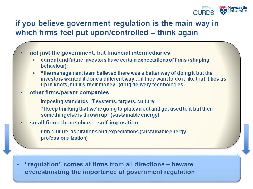 if you believe government regulation is the main way in which firms feel put upon/controlled – think again not just the government, but financial intermediaries current and future investors have certain expectations of firms (shaping behaviour): the management team believed there was a better way of doing it but the investors wanted it done a different way;…if they want to do it like that it ties us up in knots, but it's their money (drug delivery technologies) other firms/parent companies imposing standards, IT systems, targets, culture: I keep thinking that we're going to plateau out and get used to it but then something else is thrown up (sustainable energy) small firms themselves – self-imposition firm culture, aspirations and expectations (sustainable energy – professionalization) not just the government, but financial intermediaries current and future investors have certain expectations of firms (shaping behaviour): the management team believed there was a better way of doing it but the investors wanted it done a different way;…if they want to do it like that it ties us up in knots, but it's their money (drug delivery technologies) other firms/parent companies imposing standards, IT systems, targets, culture: I keep thinking that we're going to plateau out and get used to it but then something else is thrown up (sustainable energy) small firms themselves – self-imposition firm culture, aspirations and expectations (sustainable energy – professionalization) regulation comes at firms from all directions – beware overestimating the importance of government regulation