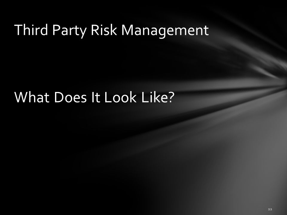 What Does It Look Like? 22 Third Party Risk Management