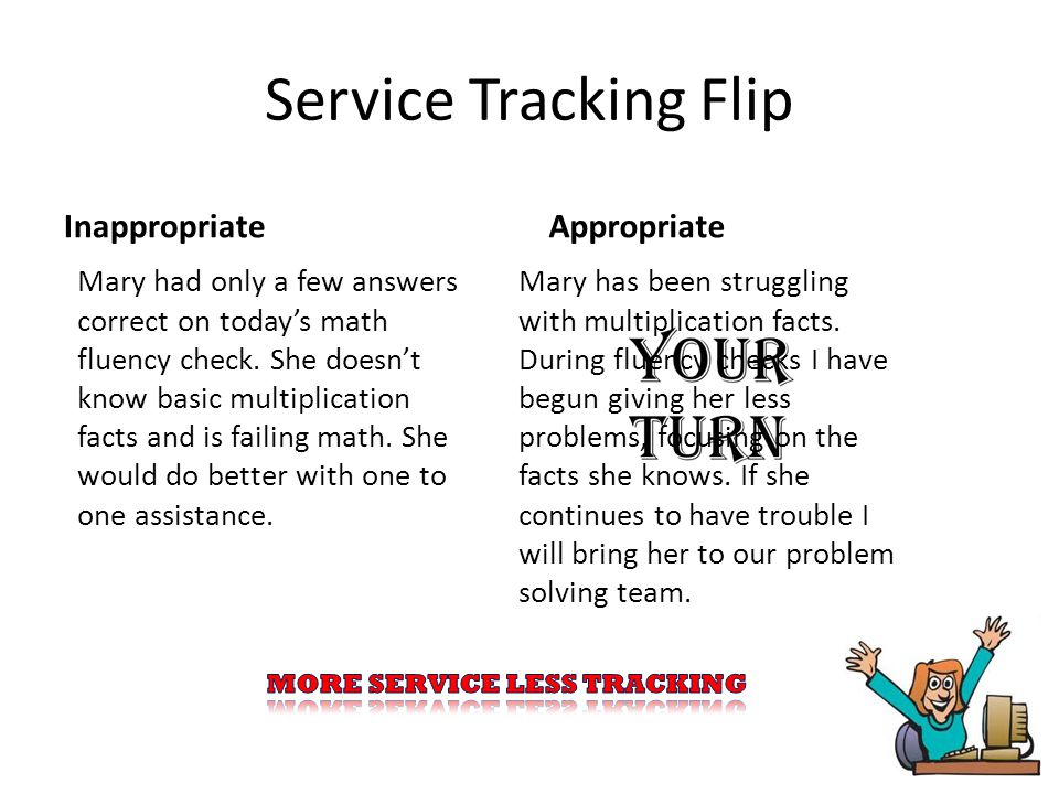 Service Tracking Flip Inappropriate Jenny was throwing things at Courtney all hour.