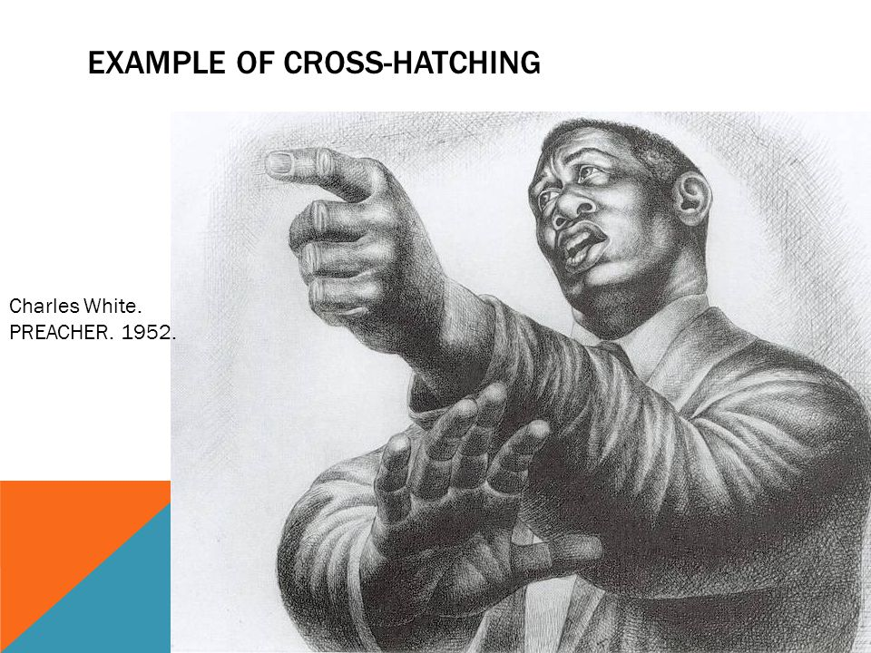 EXAMPLE OF CROSS-HATCHING Charles White. PREACHER. 1952.