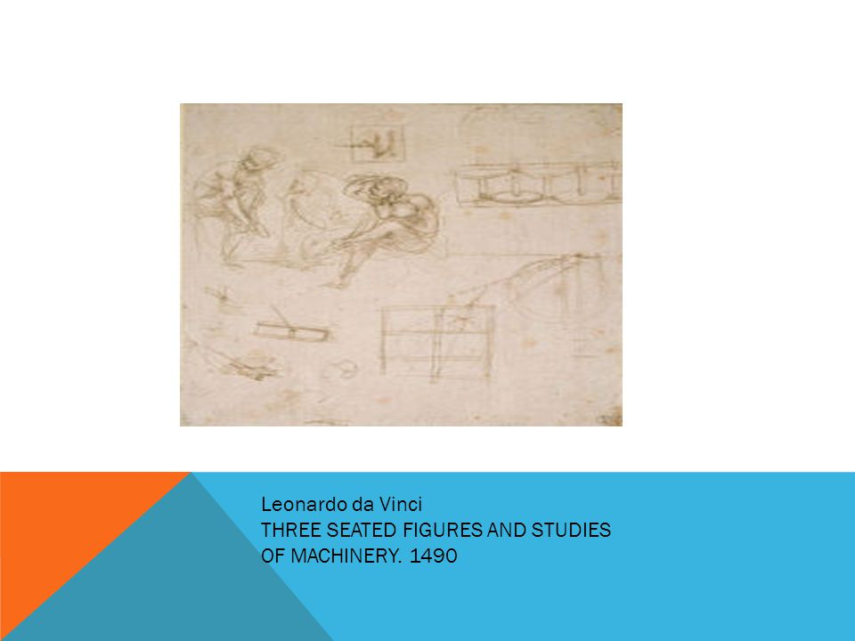 Leonardo da Vinci THREE SEATED FIGURES AND STUDIES OF MACHINERY. 1490