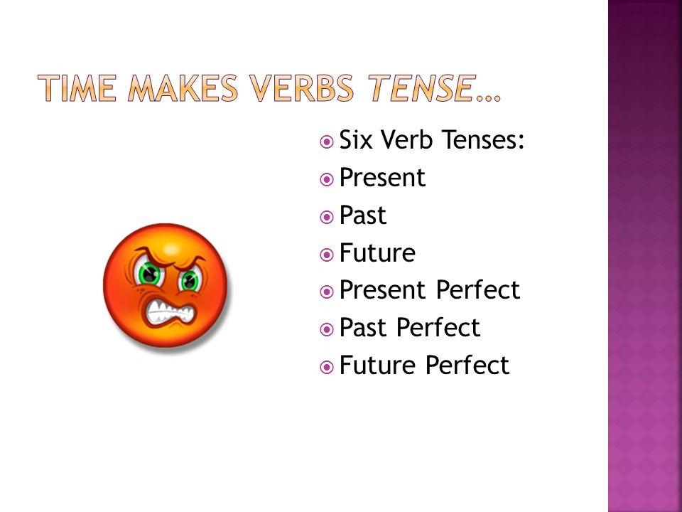  Six Verb Tenses:  Present  Past  Future  Present Perfect  Past Perfect  Future Perfect