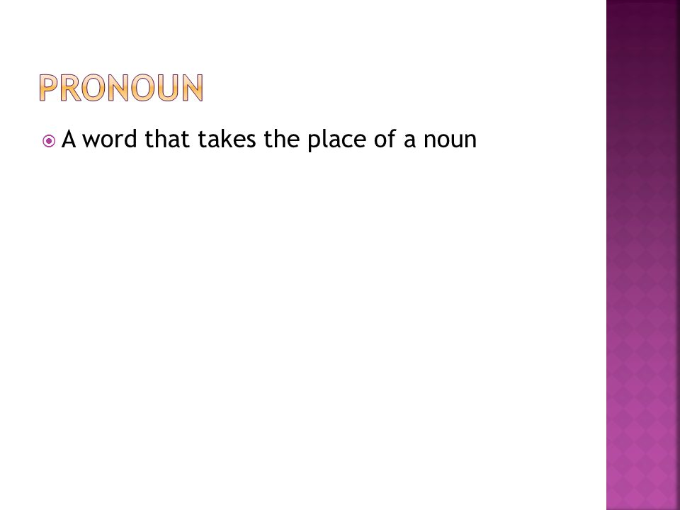  A word that takes the place of a noun