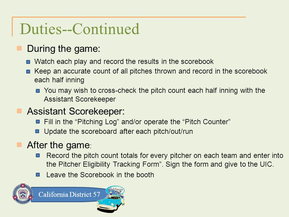 California District 57 Duties--Continued During the game: Watch each play and record the results in the scorebook Keep an accurate count of all pitches thrown and record in the scorebook each half inning You may wish to cross-check the pitch count each half inning with the Assistant Scorekeeper Assistant Scorekeeper: Fill in the Pitching Log and/or operate the Pitch Counter Update the scoreboard after each pitch/out/run After the game : Record the pitch count totals for every pitcher on each team and enter into the Pitcher Eligibility Tracking Form .