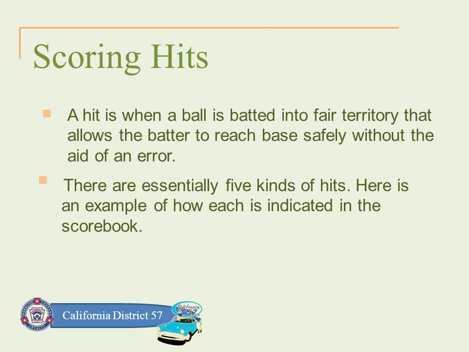 California District 57 Scoring Hits A hit is when a ball is batted into fair territory that allows the batter to reach base safely without the aid of an error.
