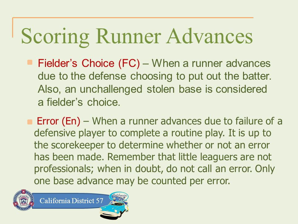 California District 57 Scoring Runner Advances Fielder's Choice (FC) – When a runner advances due to the defense choosing to put out the batter.