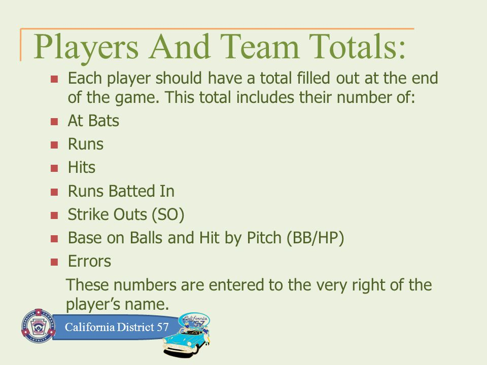 California District 57 Players And Team Totals: Each player should have a total filled out at the end of the game.