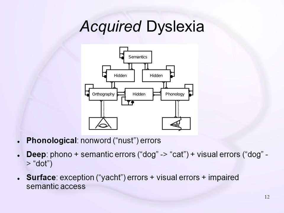 Acquired Dyslexia 12 Phonological: nonword ( nust ) errors Deep: phono + semantic errors ( dog -> cat ) + visual errors ( dog - > dot ) Surface: exception ( yacht ) errors + visual errors + impaired semantic access