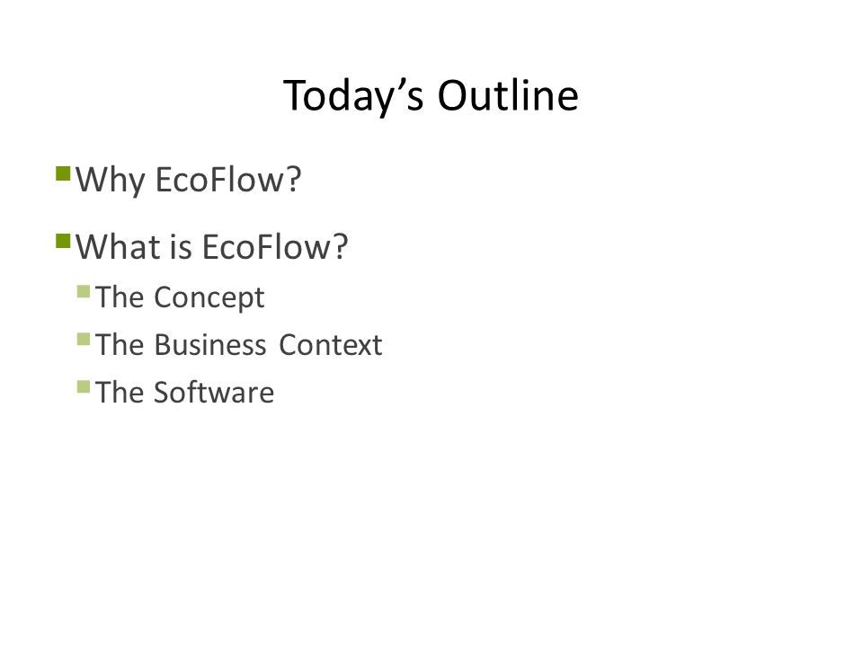 EcoFlow Development Process Recap  Very agile with a focus on prototypes  Most valuable activities  Prioritized work queue  Stakeholder feedback using prototypes  More structured design and analysis methods used for critical features  This is also where the most domain knowledge needed to be transferred to the developers  Collaborate but avoid over using tools or leaking techniques  Stakeholders may not really know how to design a UI so don't let them do it alone  Use cases are good techniques for software engineers but poor tools for general communication with stakeholders  Stakeholders drive development but not the process!