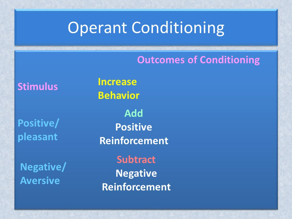 Operant Conditioning Outcomes of Conditioning Increase Behavior Stimulus Positive/ pleasant Negative/ Aversive Add Positive Reinforcement Subtract Negative Reinforcement