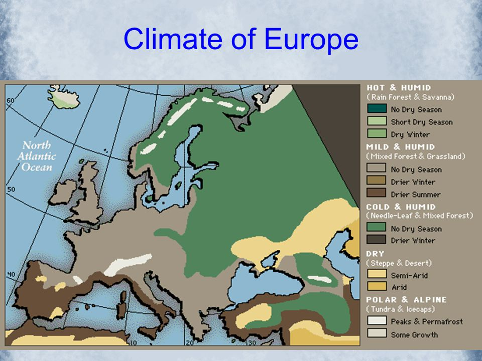 Climate of Europe Europe usually experiences cold winters in the northern regions. Overall, western Europe is warmer than other places in the world at