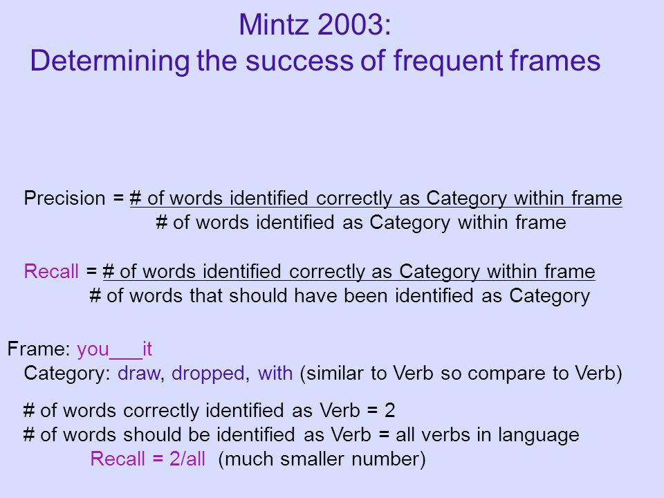Precision = # of words identified correctly as Category within frame # of words identified as Category within frame Recall = # of words identified correctly as Category within frame # of words that should have been identified as Category Frame: you___it Category: draw, dropped, with (similar to Verb so compare to Verb) Mintz 2003: Determining the success of frequent frames # of words correctly identified as Verb = 2 # of words should be identified as Verb = all verbs in language Recall = 2/all (much smaller number)
