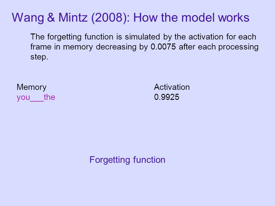 MemoryActivation you___the0.9925 The forgetting function is simulated by the activation for each frame in memory decreasing by 0.0075 after each processing step.