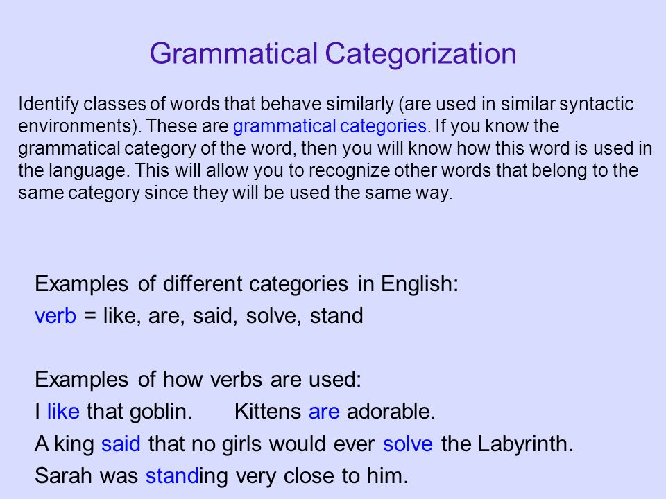 Grammatical Categorization Examples of different categories in English: verb = like, are, said, solve, stand Examples of how verbs are used: I like that goblin.