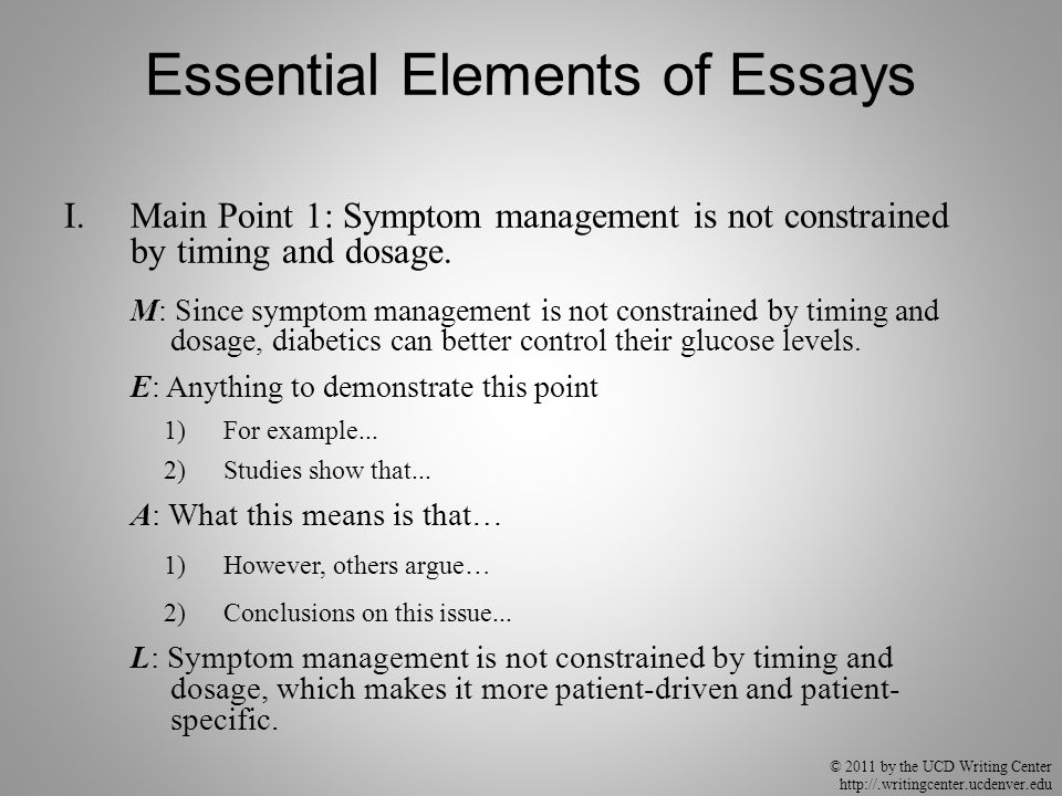 © 2011 by the UCD Writing Center http://.writingcenter.ucdenver.edu Essential Elements of Essays I.Main Point 1: Symptom management is not constrained