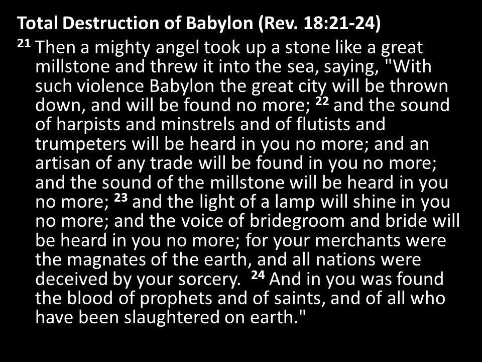Total Destruction of Babylon (Rev.