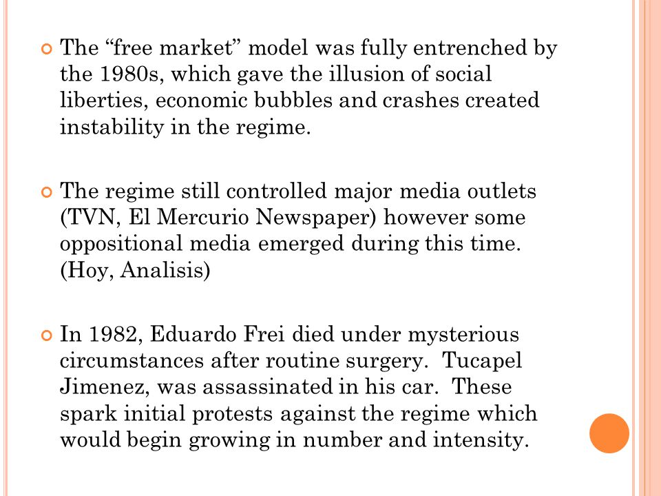 The free market model was fully entrenched by the 1980s, which gave the illusion of social liberties, economic bubbles and crashes created instability in the regime.