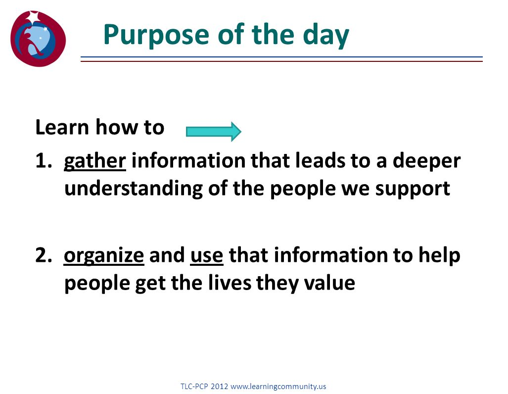 Purpose of the day Learn how to 1.gather information that leads to a deeper understanding of the people we support 2.