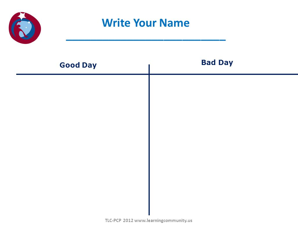 Good Day Bad Day Write Your Name __________________________ TLC-PCP 2012 www.learningcommunity.us