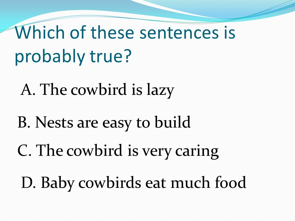 The cowbird does not build a nest of its own.