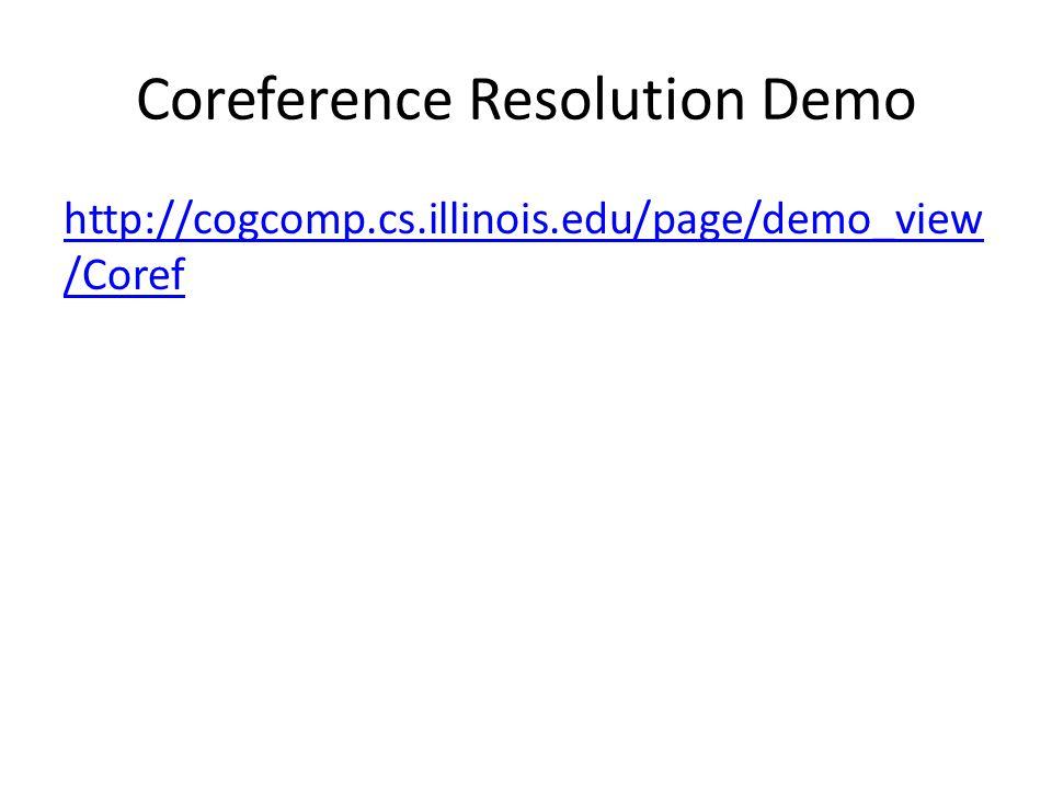 Coreference Resolution Demo http://cogcomp.cs.illinois.edu/page/demo_view /Coref