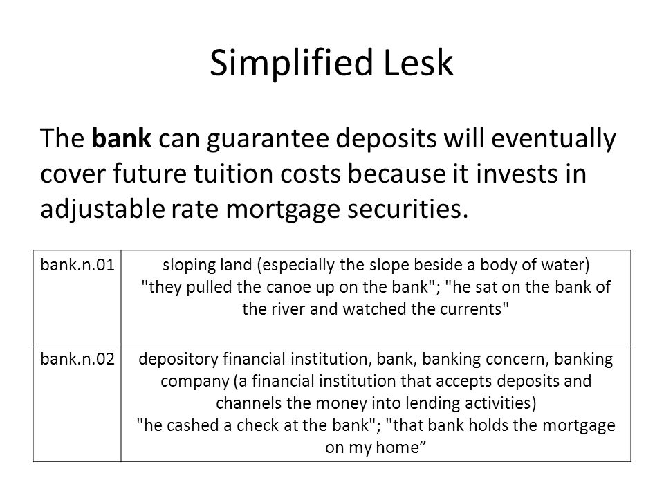 Simplified Lesk The bank can guarantee deposits will eventually cover future tuition costs because it invests in adjustable rate mortgage securities.