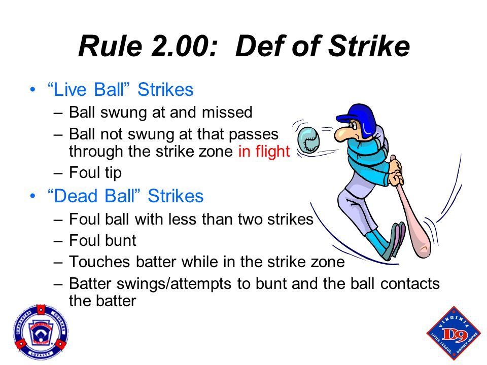 Rule 2.00: Def of Strike Live Ball Strikes –Ball swung at and missed –Ball not swung at that passes through the strike zone in flight –Foul tip Dead Ball Strikes –Foul ball with less than two strikes –Foul bunt –Touches batter while in the strike zone –Batter swings/attempts to bunt and the ball contacts the batter