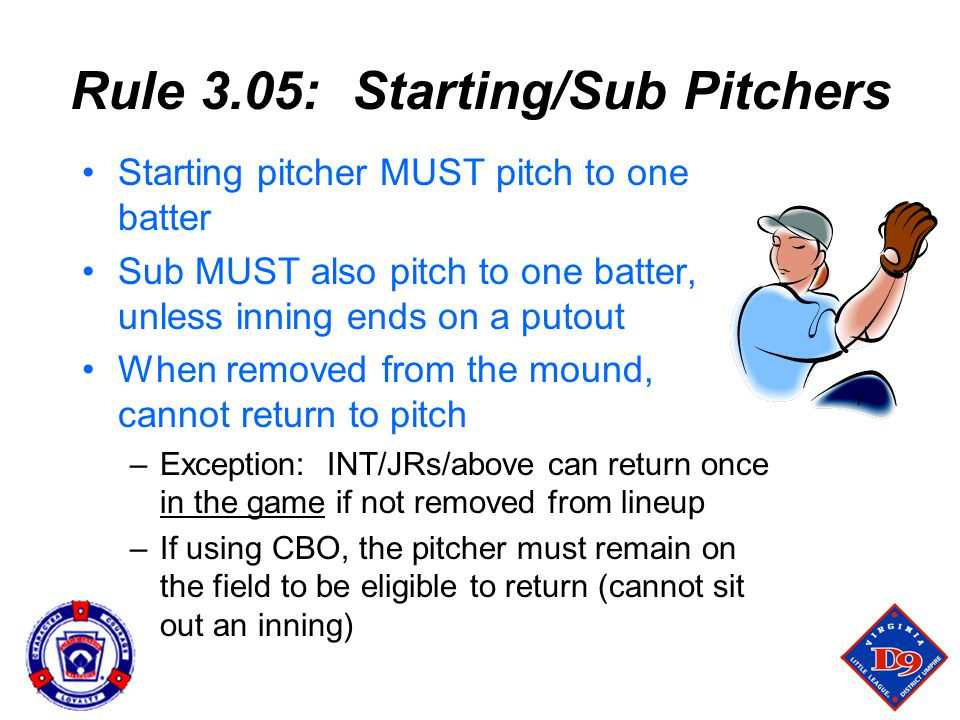 Rule 3.05: Starting/Sub Pitchers Starting pitcher MUST pitch to one batter Sub MUST also pitch to one batter, unless inning ends on a putout When removed from the mound, cannot return to pitch –Exception: INT/JRs/above can return once in the game if not removed from lineup –If using CBO, the pitcher must remain on the field to be eligible to return (cannot sit out an inning)