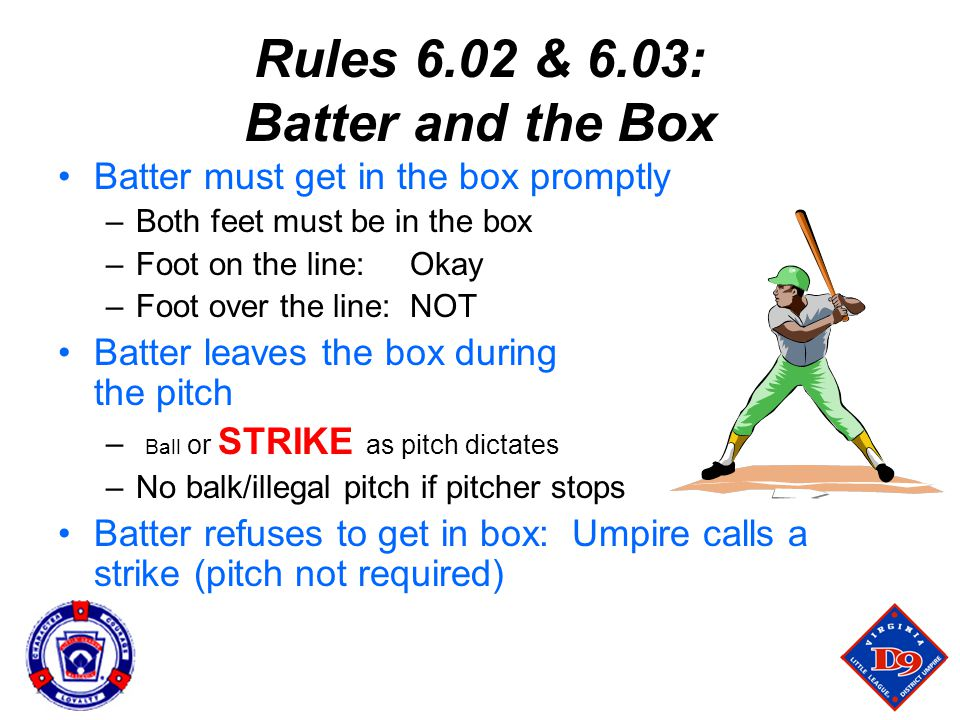 Rules 6.02 & 6.03: Batter and the Box Batter must get in the box promptly –Both feet must be in the box –Foot on the line: Okay –Foot over the line: NOT Batter leaves the box during the pitch – Ball or STRIKE as pitch dictates –No balk/illegal pitch if pitcher stops Batter refuses to get in box: Umpire calls a strike (pitch not required)