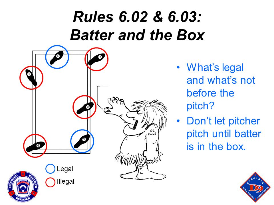 Rules 6.02 & 6.03: Batter and the Box What's legal and what's not before the pitch.