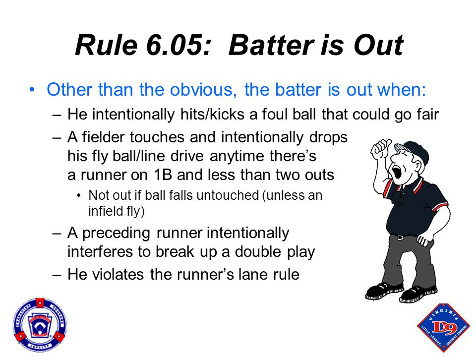Rule 6.05: Batter is Out Other than the obvious, the batter is out when: –He intentionally hits/kicks a foul ball that could go fair –A fielder touches and intentionally drops his fly ball/line drive anytime there's a runner on 1B and less than two outs Not out if ball falls untouched (unless an infield fly) –A preceding runner intentionally interferes to break up a double play –He violates the runner's lane rule