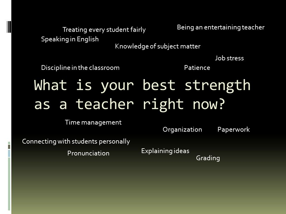 What is your best strength as a teacher right now.