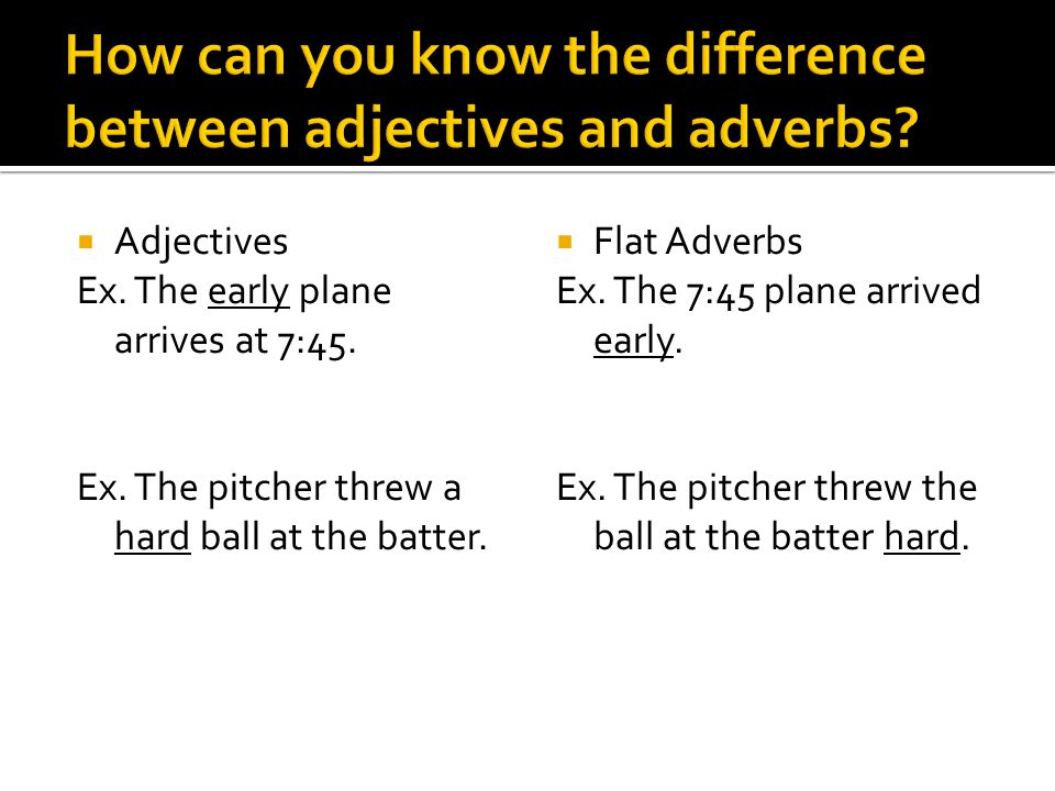 Adjectives that do not change form (add -ly) to become adverbs are called flat adverbs.  Examples: Early Late Hard Fast Long High Low Deep